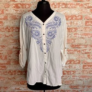 Sonoma Embroidered Tunic Knit Relaxed Fit Top